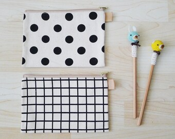 Polka Dot // GRID Large thick canvas zipper pencil case, geometric pencil pouch, snack bag, cosmetic bag, wallet, rectangle shaped, GRAPHIC
