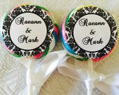 """120 DAMASK Circle 1.5"""" Lollipop or Favor Box LABELS/STICKERS Personalized for Wedding, party or any event"""