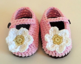 Baby Mary Janes Green With Daisy By Productofherhands On Etsy