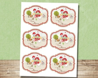 Printable Barnyard Favor Tags- Custom Printable-4x3.2 Inches-Farm Party