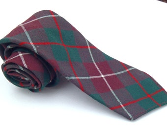 Vintage 1960s Skinny Red and Green Plaid Wool Tie by Botany