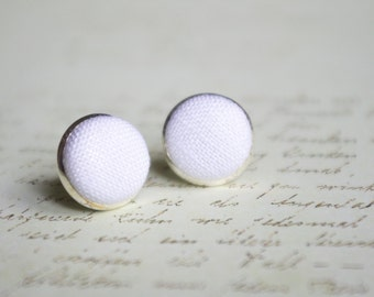 White stud earrings wedding small linen earrings Tiny minimal simple elegant jewelry
