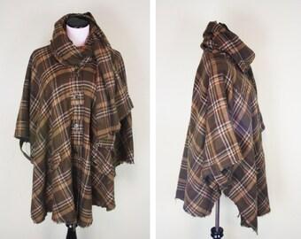 Wool Poncho Wool Cape Tartan Plaid Poncho Wrap Scarf Womens Poncho Boho Poncho Blanket Coat Tartan Cape Plaid Poncho Plaid Cape Plaid Shawl