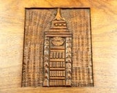 Hand-Carved New York Clock Tower Skyscraper Wooden Trinket Keepsake Jewelry Stash Box