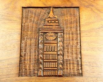 Hand-Carved New York Clock Tower Skyscraper Wooden Trinket Keepsake Jewelry Stash Box