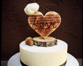 Wedding cake topper rustic chic wooden heart country weddings