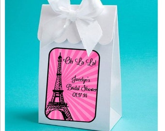 Personalized Paris themed Bridal shower favor boxes - Paris, Eiffel Tower Theme Bridal Shower - set of 12, hot pink, teal, choice of design