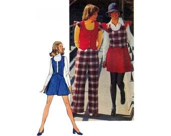 Simplicity 5852 Retro Woman's Vest, Short Skirt and Pants Sewing Pattern Size 10 Bust 32 1/2 / 83 cm Vintage 1970s