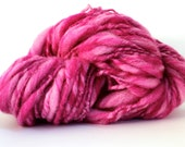 Thick and Thin Melange  Hand Spun  Super Chunky Wool Yarn   Magenta  / Candy  Color