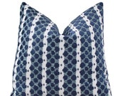 Designer Blue Pillow - Navy Blue and Aqua Tilton Fenwick Pillow - Decorative Geometric Throw Pillow - Sapphire Blue