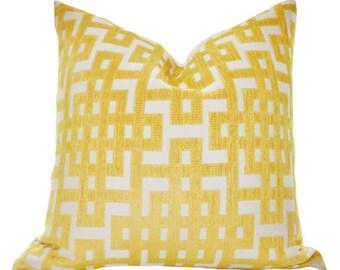 Decorative Designer Pillow - Yellow Geometric Greek Key Trellis Designer Cover - Modern Yellow Throw Pillow