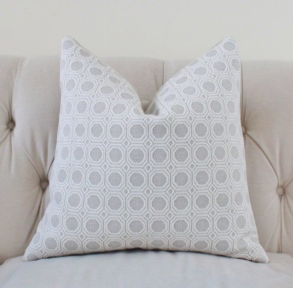 light gray and off white pillow silver grey woven geometric. Black Bedroom Furniture Sets. Home Design Ideas
