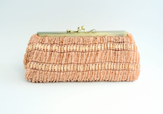 Gorgeous Pink Champagne Parisian Clutch Handbag - Romantic Lace Evening Purse - Includes Crossbody Chain - Ready to Ship