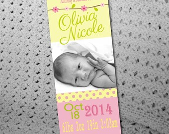 50, 100 or 150 Custom Birth Announcement Photo Bookmarks