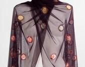 Elibelindeart/Flowery shawl/ Unique shawl/ special design shawl/Shawl store/Wedding/Gift ideas/Claret red shawl/Lace/Lace shawl/Shawl/Orange