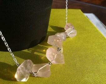 Rose Rocks Necklace - Rose Quartz Nuggets