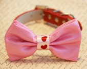 Pink dog bow tie, Pink bow attached to red dog collar, dog lovers, dog birthday gift, pet accessory