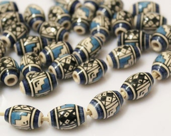 Blue Ceramic Beads (15), Ethnic Beads, Peruvian Beads
