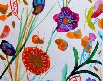 Watercolor Flowers Ink Flowers Garden Landscape Spring Flowers Decor Blue Orange Purple Gold Flowers Fine Art Watercolor Botanical Wall Art