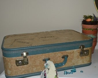 Vintage Wedding Cake Stand  Blue and Tan Suitcase BLESSED Script Wedding Decor