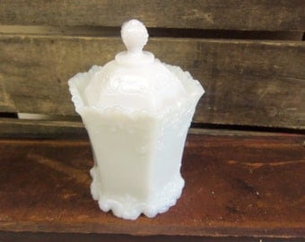 Vintage Old Milk Glass Lidded Candy Dish  B1014