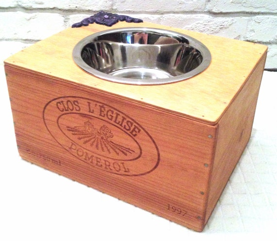 Sale! - Elevated Wine Crate Pet Feeder - Single Large Pet Bowl