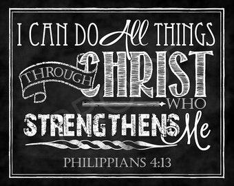 Scripture Art - Philippians 4:13 Chalkboard Style