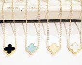 Modern Clover Necklace on Gold Chain - Black - Turquoise Blue - Peach - White - Gold Filled - Clover Jewelry - Clover Necklace - Simple
