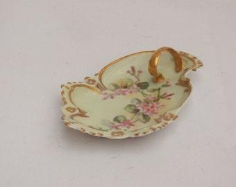 Antique Austria M Z  Hand Painted Porcelain Floral Handled Trinket Side Dish Gold Gilt Trim Vanity Tray - Victorian Art Nouveau 1884 - 1909