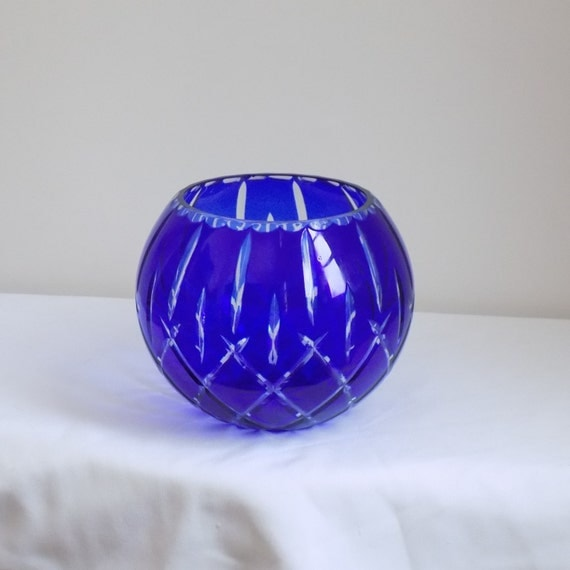 Large Cobalt Blue Cut To Clear Crystal Rose By 1littletreasureshop
