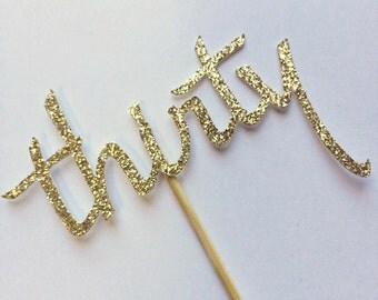 Gold Thirty Cupcake toppers- Cupcake Toppers