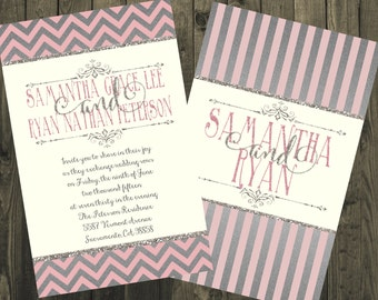 Pink and Silver Wedding Invitations, Silver Wedding Invitations, Glitter Wedding Invitations, Silver Glitter Invitations
