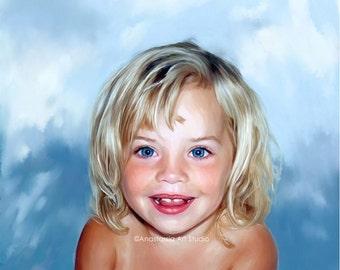 Oil Painting - Custom Kids Portrait on Canvas from Photo - Anastassia Art 16x20