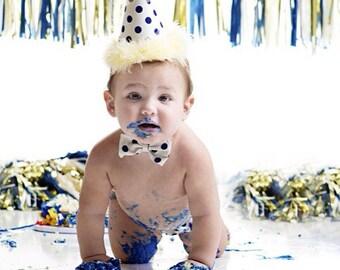 Blue & off white Baby boys Polka dot cake smash outfit