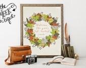 INSTANT DOWNLOAD, Autumn Quote, Leaf Wreath, No. 210