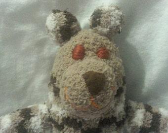 Brown Fuzzy Sock Bear Soft Plush Handmade