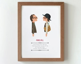 Illustration. Annie Hall Print Wall art Art decor Hanging wall Printed art Decor home Gift idea Bedroom Woody Allen film