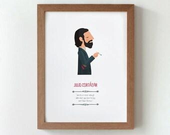 Illustration. Julio Cortázar. Print. Wall art. Art decor. Hanging wall. Printed art. Decor home. Gift idea. Bedroom Sweet home Tutticonfetti