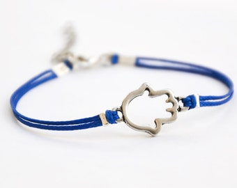 Hamsa bracelet, royal blue cord bracelet with a silver hamsa charm, judaica from Israel, gift for her, hand charm, spiritual jewelry
