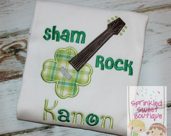 Shamrock Sham Rock Guitar Irish Appliqué St. Patty's Day Monogram Shirt