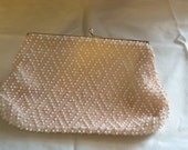Vintage Evening Bag Clutch Beaded by Corde Bead Pink White Wedding