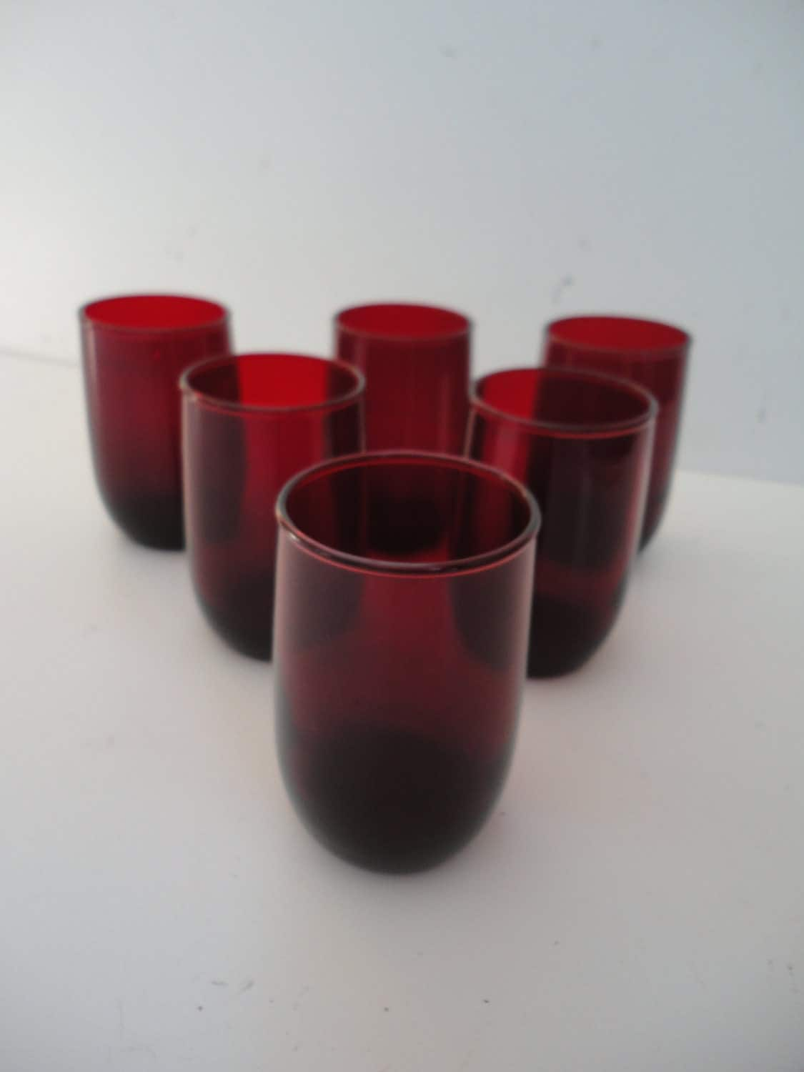 Vintage Ruby Red Small Drinking Glasses Ruby Red Glassware