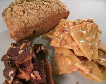 Milk Chocolate Sea Salt topped Peanut Brittle & Regular Peanut Brittle and One Bread of your choice FREE SHIPPING.