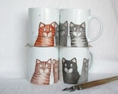 handpainted gray cats mug,  black cats coffee cup, tabby cat tea cup custom pet portrait