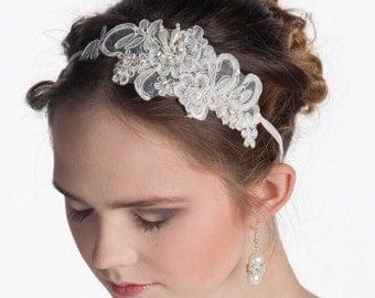 Lace rhinestone Wedding hair accessory, Ivory bridal headpiece, Lace wedding Headpiece, Embroidered hairpiece, Spring wedding