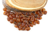 Natural Baltic Amber unpolished rounded beads - 50 pcs - M Dark Cognac