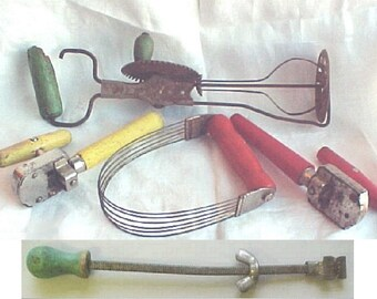 Vintage Kitchen Tools - Green Handle Egg Beater and Jar Opener - Red Handle Pastry Blender - Yellow Handle / Red Handle Can Openers - A & J