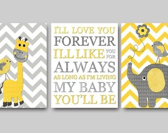 Yellow and Gray Nursery Wall Art Baby Nursery Decor Baby Boy Nursery Decor Baby Room Decor Kids Wall Art Kids Art Boy Print set of 3
