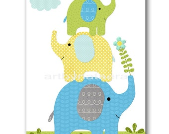 Blue gray green yellow Baby Room Decor Elephant Nursery Art Print Baby Nursery Decor Baby Boy Nursery Decor Kids Wall Art Kids Art