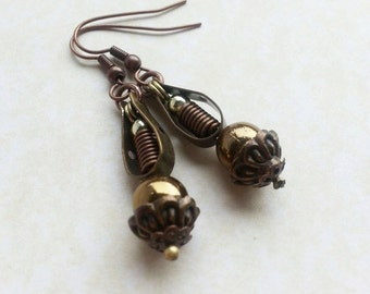 Spring Copper Sphere earrings Steampunk inspired teardrop shaped, Neo Victorian